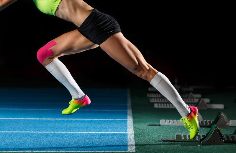Sprinterin auf der Leichtathetikbahn